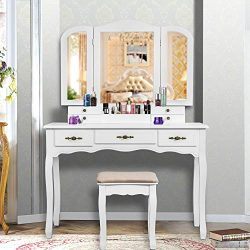 YOUKE Vanity Set, Tri-Folding Necklace Hooked Mirror, 7 Drawers, Makeup Dressing Table with Cush ...