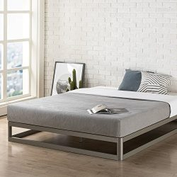 Mellow King 9″ Metal Platform Bed Frame w/Heavy Duty Steel Slat Mattress Foundation (No Bo ...