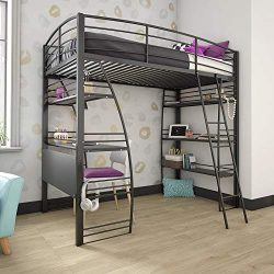 DHP 4016029 Studio Loft Bunk Bed Over Desk and Bookcase with Metal Frame, Black, Twin