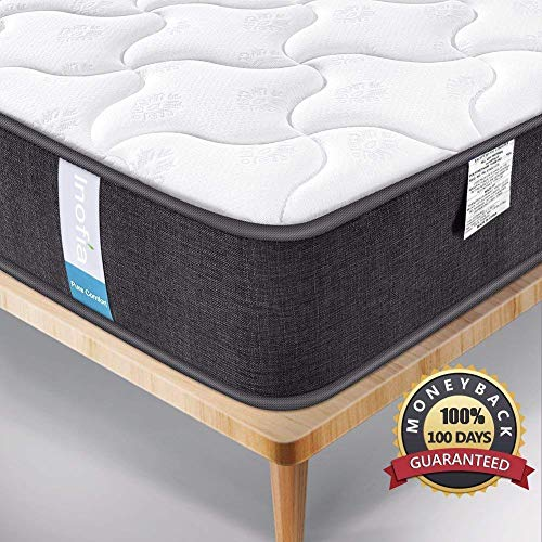 Double Mattress, Inofia Queen Size Bed Mattress Hybrid Construction Comfort Innerspring Foam Mat ...