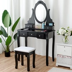 Giantex Black Vanity Set with Mirror & Cushioned Stool Dressing Table Large Storage Removabl ...