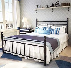 Metal Bed Frame Queen Size with Vintage Headboard and Footboard Platform Base Wrought Iron Doubl ...