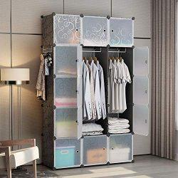GEORGE&DANIS Portable Wardrobe Plastic Modular Closet Organization Customizable Cube Storage ...
