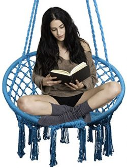 EasyTime Hammock Chair Macrame Swing, Hanging Chair for Reading/Leisure, 330 Pound Capacity, Per ...