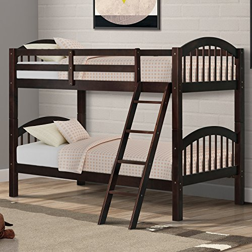 Harper&Bright Designs Twin-Over-Twin Bunk Beds Solid Hardwood Twin Bunk Bed for Kids with La ...