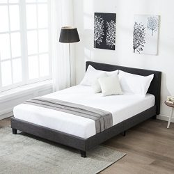 Mecor Upholstered Linen Queen Platform Bed Metal Frame with Wood Slat Support,Square Stitched He ...