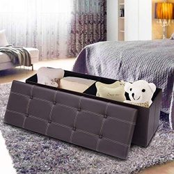 Giantex 45″ Folding Storage Ottoman Bench Tufted Faux Leather Coffee Table Foot Rest Stool ...