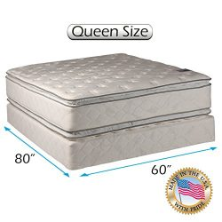 Dream Solutions Pillow Top Mattress and Box Spring Set – Double-Sided Sleep System with En ...