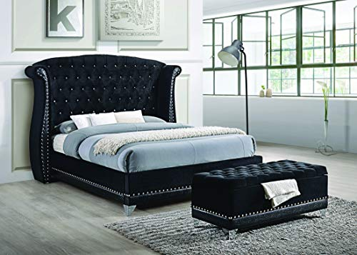 Coaster Home Furnishings 300643KW Platform Bed, 94″ W x 93.5″ D x 62.5″ H, Black