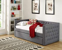 Best Master Furniture LT001 Laura Tufted Daybed + Trundle Twin Grey