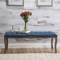 Tassette Tufted Royal Blue Fabric Bench