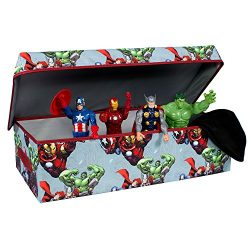 Avengers Collapsible Kids Slim Toy Storage Chest by Marvel – Sleek Flip-Top Toy Organizer  ...