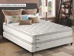 Mattress Solution, 12-Inch medium Plush Pillowtop Doublesided Innerspring Mattress And 8″  ...