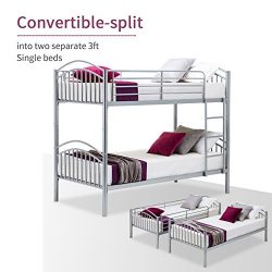 LAGRIMA Bunk Beds-Twin Over Twin Convertible Metal Bunk Bed Frame with Movable Ladder, Metal Sla ...