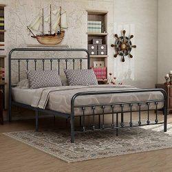 Elegant Home Products Victorian Vintage Style Platform Metal Bed Frame Foundation Headboard Foot ...