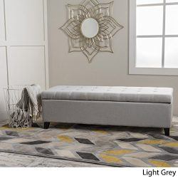 Santa Rosa Light Grey Fabric Storage Ottoman