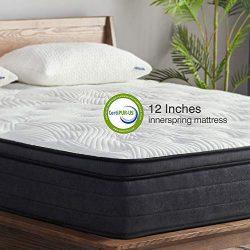 Sweetnight King Mattress in a Box – 12 Inch Plush Pillow Top Hybrid Mattress, Gel Memory F ...