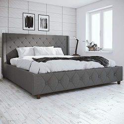 CosmoLiving Mercer Upholstered Bed, Light Grey Linen, King (Parent)