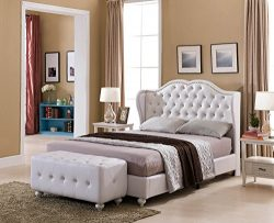 Kings Brand Furniture White Tufted Design Faux Leather Full Size Upholstered Platform Bed