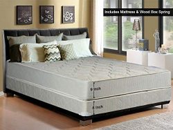 Continental Sleep, 9-Inch Gentle Firm Tight top Innerspring Mattress And Wood Traditional Box Sp ...