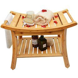 Zhuoyue Bamboo Spa Bath Shower Stool & Bench with Storage Shelf, Waterproof Shower Bath Seat ...