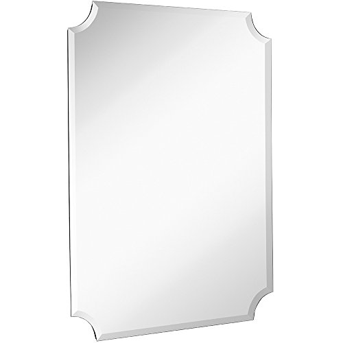 Large Beveled Scalloped Edge Rectangular Wall Mirror | 1 inch Bevel Curved Corners Rectangle Mir ...