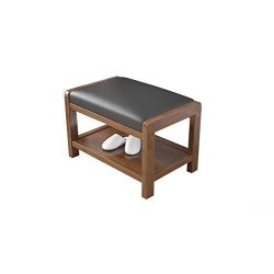 Footstool and ottomans small Storage Shoe Footstool, Solid Wood Leather Cushion Rectangular Repl ...