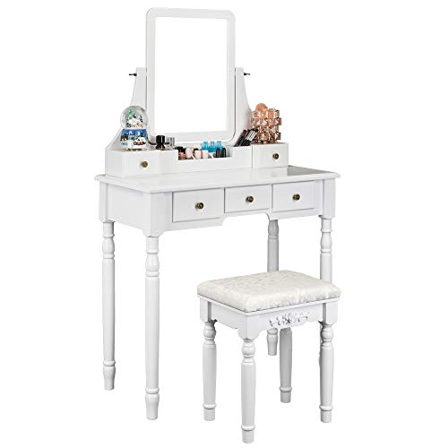Bonnlo Modern Vanity Table Set with Mirror and Cushioned Stool,Vanity Makeup Table with 5 Drawer ...