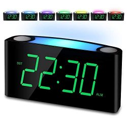 Alarm Clock, Large Number Digital LED Display with Dimmer, Night Light, USB Charging Port, Big S ...