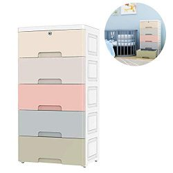 Nafenai Movable Storage Cabinet,Home Furniture Organizer Colorful 5 Drawer Storage Cart with Loc ...