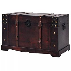 Fesnight Vintage Treasure Chest Wood Storage Box Trunk Cabinet with Latch Closure and Handles fo ...