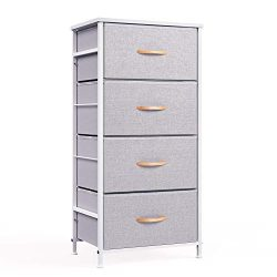 WeHome Dresser Organizer with 4 Drawers, Fabric Dresser Tower for Bedroom, Hallway, Entryway, Cl ...