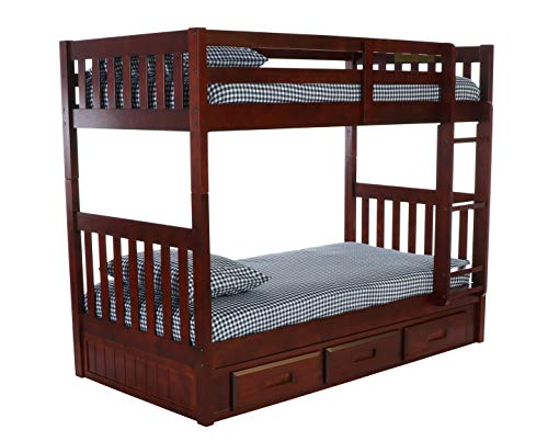 Discovery World Furniture 2810-2892 with 3 Drawer Storage Bunk Bed Twin Over Twin Merlot