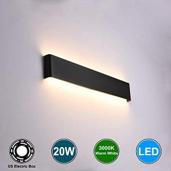 Aipsun 20W/24in Rectangular LED Wall Mount Sconce Modern Horizontal Up and Down Wall Lamp for In ...