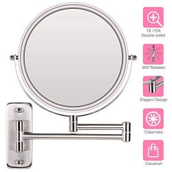 AmnoAmno 8.5″ LED Double Sided Swivel Wall Mount Vanity mirror-10x Magnification,13.7&#824 ...