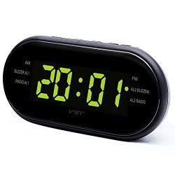Digital Alarm Clock AM/FM Radio with Dual Alarms Sleep & Snooze Function Outlet Powered Big  ...
