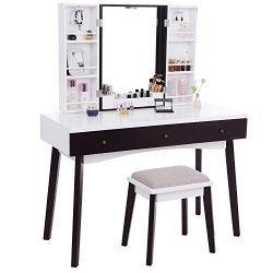 BEWISHOME Vanity Set with Mirror, Cushioned Stool, Storage Shelves, Makeup Organizer, 3 Drawers  ...
