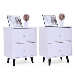 LAZYMOON 2-Drawer Nightstand Bedside Cabinet End Table Bedroom Furniture White Finish Set of 2