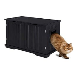 Sweet Barks Designer Cat Washroom Storage Bench Cat Litter Box Enclosure Furniture Box House wit ...
