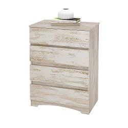 WLIVE 4-Drawer Wood Storage Organizer Dresser/Chest,White Oak