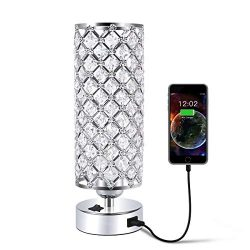 USB Crystal Table Desk Lamp with USB Port, Acaxin Elegant Bedside Light with Crystal Shade, Glam ...