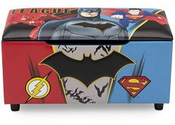 DC Comics Justice League Upholstered Storage Bench for Kids | Perfect for Bedrooms/Playrooms/Liv ...