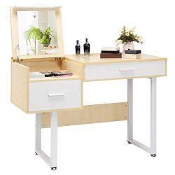 Giantex Vanity Table with Flip Top Mirror, Makeup Dressing Table Computer Laptop Desk Mutiple-us ...