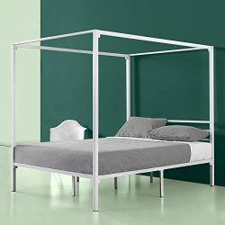Zinus Patricia White Metal Framed Canopy Four Poster Platform Bed Frame / Strong Steel Mattress  ...