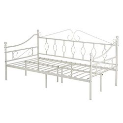 GreenForest Daybed Metal Bed Frame Twin Size Steel Slat Support Box Spring Replacement Mattress  ...