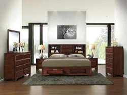 Roundhill Furniture B139BQDMN2C Asger Wood Room Set Including Queen Storage Bed, Dresser, Mirror ...