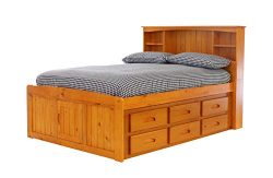 Discovery World Furniture Bookcase Captains Bed with 6 Drawers, Full, Honey