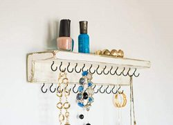 Jewelry Organizer by Out Back Craft Shack: Wall Necklace Holder with Shelf & 25 hooks; Rusti ...
