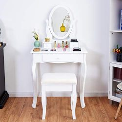 Giantex Vanity Table Set 3 Drawers with Mirror, Cushioned Bench Bathroom Bedroom Wood Room Vanit ...
