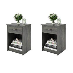 Set of 2 Nightstand MDF End Tables Pair Bedroom Table Furniture Multiple Colors (Gray) (2 Sets,  ...